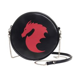 Red Dragon Round Embossed Purse Shoulder Bag