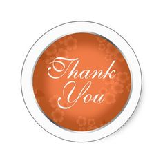 Floral Watermark Coral Orange Thank You Stickers