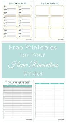 Pinterest graphic showcasing measurements page and master project list from home binder printables