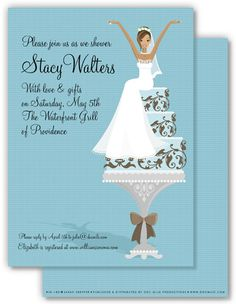 Brides michaels invitations wedding invitations beautiful bride african american bride on cake bridal shower invitation filmwisefo