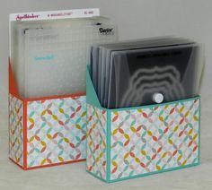 Storage: Framelits & Larger Embossing Folders - Best Year Ever DSP - Cased from Pootles  http://pootles.co.uk/2013/10/30/stampin-up-uk-framelits-storage-box-tutorial-video/