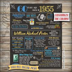 """60th Birthday poster - Back in 1955. Chalkboard digital print. Customize colors. 16x20""""  https://www.etsy.com/listing/230739657/1955-60th-birthday-chalkboard-poster"""