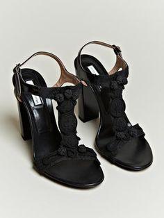 Dries Van Noten Women's Embroidered Strap Heels