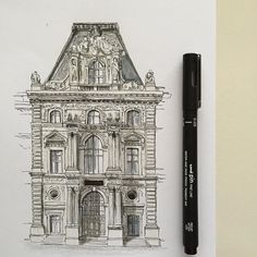 The Louvre Paris. #art #drawing #pen #sketch #illustration #thelouvre #thelouvremuseum #paris #france #architecture