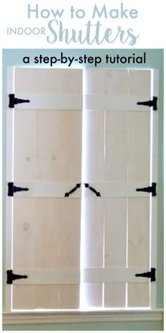 I love how these shutters give such a fabulous rustic farmhouse look. How to Make DIY Indoor Shutters - a step by step tutorial house window shutters How to make wooden shutters in SIX steps! Diy Shutters, Repurposed Shutters, Indoor Window Shutters, Window Shutters Inside, Diy Interior Window Shutters, Bedroom Shutters, Curtains For Basement Windows, Bedroom Windows, Wood Projects
