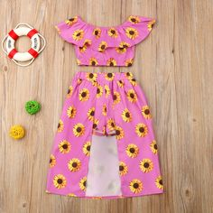 Toddler Girl Sunflower Allover Flounced Off Shoulder Top and Shorts Set Little Girl Outfits, Kids Outfits Girls, Cute Outfits For Kids, Toddler Girl Outfits, Baby Outfits Newborn, Toddler Fashion, Kids Fashion, Toddler Girl Clothing, Toddler Girls