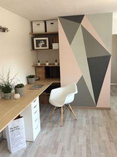 peinture murale géométrique idée déco à domicile Office Wall Colors, Office Walls, Office Paint, Bedroom Wall, Bedroom Decor, Wall Decor, Cute Home Decor, Cheap Home Decor, Inspiration Wand