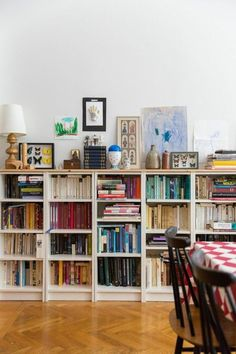 Bookcase Long Low Wooden Bookcase Long Low Bookcase Plans Long Regarding Long Low Bookcase Diy Prepare Long Low Bookcase, Low Bookshelves, Low Shelves, Monochrome Interior, Contemporary Interior, Dining Room Shelves, Concrete Interiors, Bookshelf Design, Bookshelf Styling