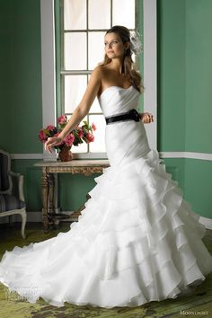 moonlight bridal collection fall 2012 strapless mermaid gown ruffle skirt sweetheart j6233