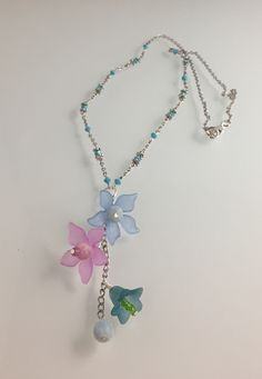 """24"""" Necklace, 30"""" length in total, handcrafted acrylic and vintage bead charms, Swarovski crystal chain."""