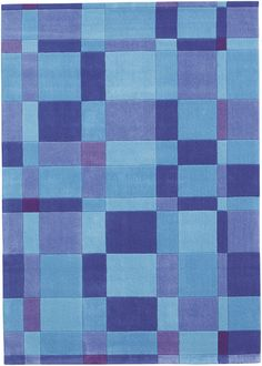 modernrugs.com Colorful Summer Blues Checked Modern Kids Rug