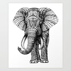 Ornately decorated elephant. Pen and ink with some graphite on Bristol vellum paper.