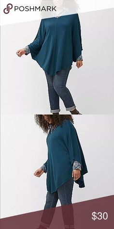 Lane Bryant poncho 26/28 Pretty blue knit poncho. Has sleeves. New without tags. More pics to come (once I'm home) Melissa McCarthy. 🔹BUNDLE PRICES ARE FIRM! I've priced my items as low as I can go and I'm not able to accept any offers on bundles. Lane Bryant Sweaters