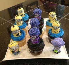 Minion Cupcakes cotton candy hair (purple)