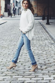 cropped denim white sweater, neckerchief and booties