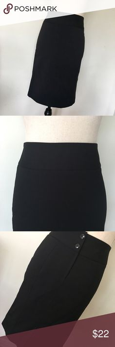 """Classic Black Pencil Skirt❤EUC Simple and elegant Black fully lined pencil skirt by H&M.  Sits at the natural waist. Has a back zip with two exposed buttons above. 2 darts up the back and a 6"""" vent. Top to hem measures at approximately 22"""". Hugs the body beautifully. In excellent condition. Perfect for work or a night out. Definitely a staple piece. H&M Skirts Pencil"""