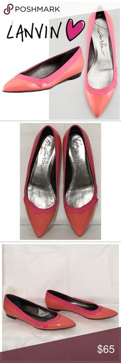 "✨HP 11/30✨Lanvin Grosgrain Pointy Toe Ballet Flats Grosgrain trim brings signature Lanvin charm to this pair-with-anything patent pointy toe flat. Patent leather upper. Pointed toe. Signature grosgrain trimmed collar. 1/2"" flat heel. Leather insole, lining, and outsole. Made in Italy. Coral/Pink. Good, pre-loved condition with minor wear. A few scuffs towards bottom of a patent leather (all pictured). Reasonable offers only please. Lanvin Shoes Flats & Loafers"