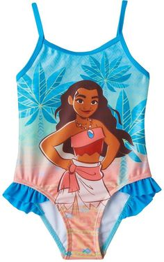 4d0b28491f Disney's Moana Toddler Girl Ruffle One-Piece Swimsuit Moana Swimsuit,  Ruffle Swimsuit, Kids