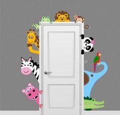 Jungle Safari Animal Decal Peeking Door Hugger Nursery Wall Decal On Etsyu2026 Part 61