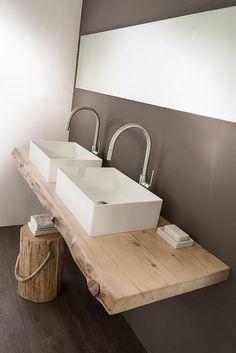salle de bain , double vasque sur support bois en … – bathroom, double basin on wooden support in … – Double Sink Bathroom, Small Bathroom, Master Bathroom, Vanity Bathroom, Wood Bathroom, Bathroom Shelves, Bathroom Sets, Bathroom Lighting, Guest Toilet
