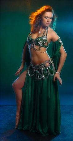 Hot Beautiful Sexy Belly Dancer In Green Belly Dance Costume.