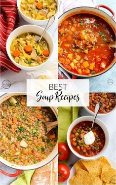 Soup season is ON, and here are my best soup recipes to give you some great ideas and dinner inspo. Classics, plus vegetarian/ vegan options. Most, if not all, of these would also be considered healthy soup recipes as well. apinchofhealthy.com