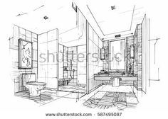 sketch streaks toilet bathroom black and white interior design vector sketch