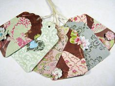 Shades of brown blue and pink gift tags handmade by littledebskis