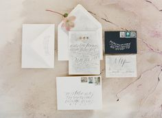 #Invitations / Calligraphy by Feast Calligraphy  | Jose Villa Photography | See more: http://www.stylemepretty.com/2013/12/05/flowerwild-workshop-with-jose-villa-2014-announcements/