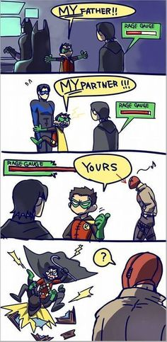 Poor Jason Todd (Red Hood) never - Batman Funny - Ideas of Batman Funny - Damian Wayne (Robin) vs Tim Drake (Red Robin). Poor Jason Todd (Red Hood) never accepted Nightwing, Batgirl, Catwoman, Batman Robin, Batman Y Superman, Batman Arkham, Batman Art, Funny Batman, Dc Comics