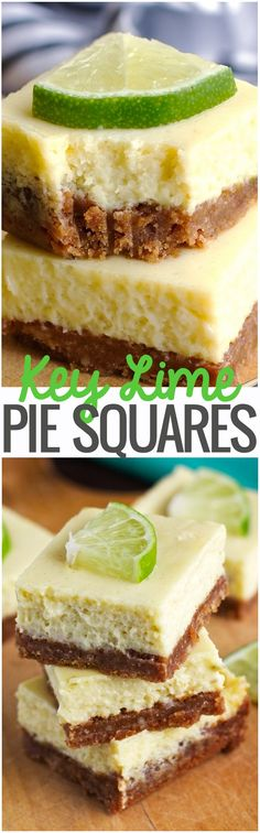 Key Lime Pie Bars - Creamy, smooth, and so flavorful. #keylimepie #keylimepiebars #keylimepiesquares |