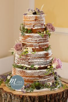 Romantic naked wedding cake.