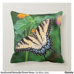 Swallowtail Butterfly Flower Personalize Name Throw Pillow - toddler youngster infant child kid gift idea design diy Butterfly Pillow, Butterfly Kids, Butterfly Flowers, Butterflies, Personalized Pillows, Personalized Note Cards, Custom Pillows, Yellow Throw Pillows, Nursery Decor