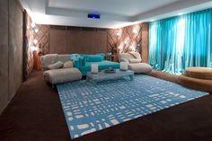 Tiffany blue with espresso Media Room