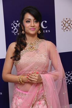 trisha nac jewellers launch event pics - Trisha Looks Sizzling Spicy Transparent Pink Saree and Deep neck Choli at NAC Jewellers Launch Event Mind Blowing beauty Beautiful Bollywood Actress, Beautiful Indian Actress, Beautiful Actresses, Pink Half Sarees, Pink Saree, Fancy Sarees, Indian Bridal Sarees, Indian Beauty Saree, Gowns