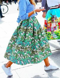 Stella Jean skirt and Adidas Stan Smith shoes