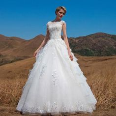 Princess Bateau Organza Applique Ball Gown Bridal Wedding Dresses