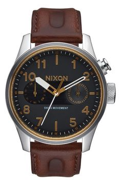 Nixon 'Safari Deluxe' Leather Strap Watch, 43mm available at #Nordstrom