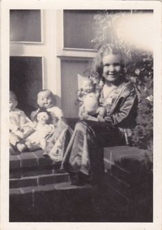 Girl and Her Dolls Vintage Photograph