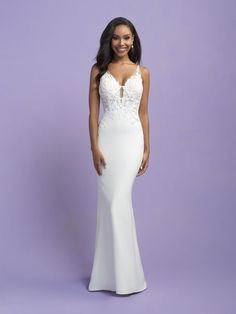 Keenen - 25710 - Sleek, simple and dramatic! Try this beauty on at Aurora Bridal in Melbourne, FL 321-254-3880