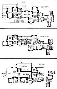 Ormston House - Basement, and floors Luxury House Plans, Dream House Plans, House Floor Plans, Sims 4 House Building, Building Plans, Building Layout, Vintage House Plans, Country House Plans, Vintage Homes