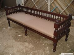 Indika-Antique-BEN 09 Long bench with cushion Wooden Living Room Furniture, Colonial Furniture, Living Room Sofa Design, Wooden Pallet Furniture, Wood Sofa, Bedroom Cupboard Designs, Bedroom Wall Designs, Wooden Sofa Set Designs, Storage Bench With Cushion