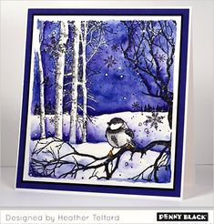 A week of winter watercolor techniques on the Penny Black blog featuring the new Winter Wonderland stamps and Creative Dies--complete supplies and instructions available on blog.