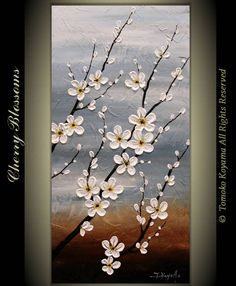 Original Modern Art Painting on Gallery wrapped Canvas x Home Decor, Wall Art ---Cherry Blossoms---(Luminous background) Easy Canvas Art, Easy Canvas Painting, Canvas Wall Art, Painting Abstract, Abstract Landscape, Painting Art, Modern Art Paintings, Easy Paintings, Art Mural