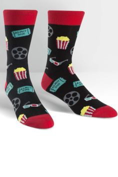 These men's crew socks have us singing: Let's all go to the movies let's all go to the movies let's all go to the movies with rad socks on our feet!    Approximately fits men's shoe size 7-13. Movie Night Men's-Crew-Socks by Sock it to me. Clothing - Activewear South Carolina