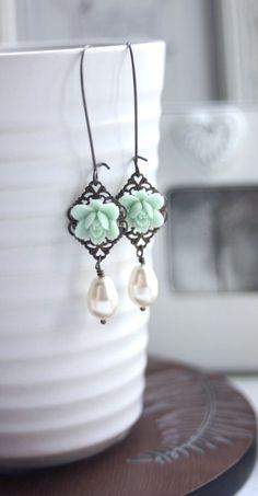Mint Lily Flower Ivory Teardrop Dangle Earrings. Mint Wedding by Marolsha.  https://www.etsy.com/listing/130854189/mint-lily-flower-and-swarovski-ivory?ref=shop_home_active_5