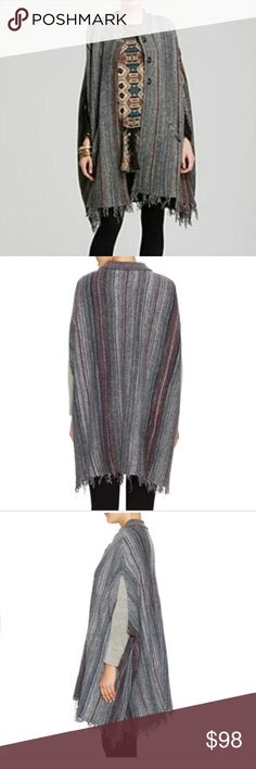 """Free People Blanket Sweater Coat NWT.  Knit coat. Graphic stripes throughout.  Crewneck. Dolman sleeves. Side slip pockets. Raw edge hem. Tonal top stitching and panel seaming.  Front snap closures . Size: XS/S. Oversized fit. Approx. Measurements: 34"""" in circumference at bust, 39"""" from shoulder to hem. Color: Charcoal. Material: 41% Wool, 33% Linen, 24% cotton, 1% nylon, 1% acrylic. Dry clean or hand wash, dry flat. Free People Sweaters Shrugs & Ponchos"""