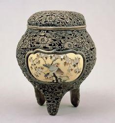 Japanese Silver incense burner with Shibayama-style inlay.