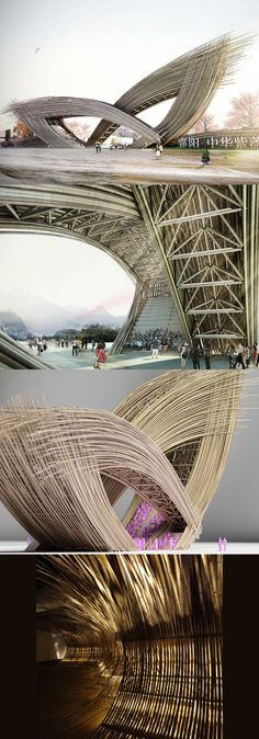 This sculptural bamboo entrance designed for a Chinese flower garden was the…