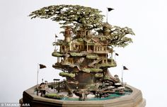 Treemendous: Artist Takanori Aiba constructs tiny worlds around bonsai trees to create his unique models
